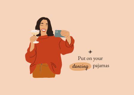 Ontwerpsjabloon van Card van Pajamas Party with Woman making Selfie with Wine