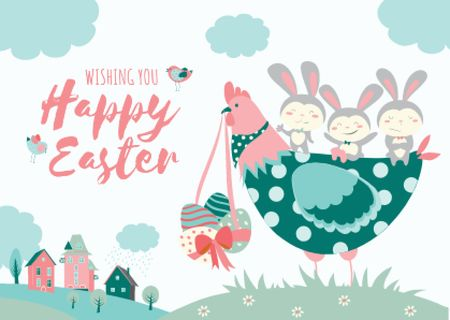 Template di design Happy Easter Wishes with Chicken and Bunnies Postcard