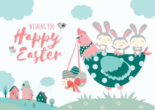 Plantilla de diseño de Happy Easter Wishes with Chicken and Bunnies Postcard