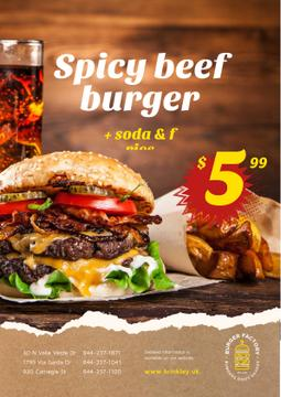 Fast Food Menu Offer with Burger and French Fries