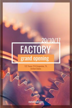 Factory Opening Announcement with Mechanism Cogwheels Pinterest – шаблон для дизайну