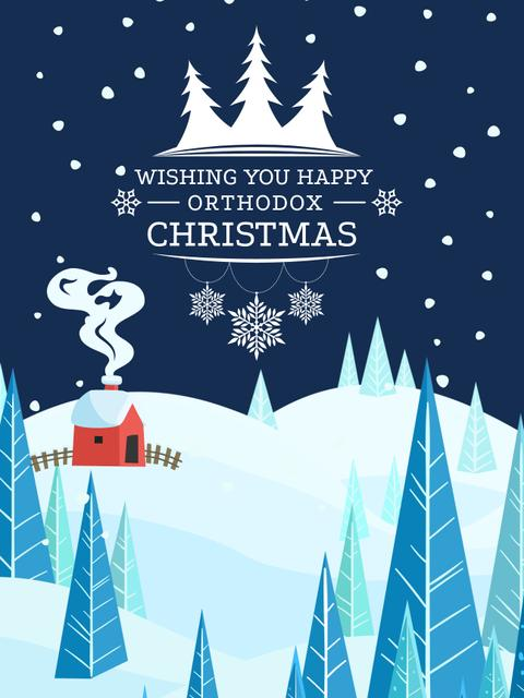 Christmas Greeting with Snowy Landscape Poster US – шаблон для дизайна