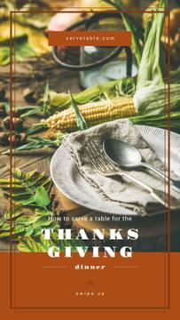 Thanksgiving feast concept with Corn on table