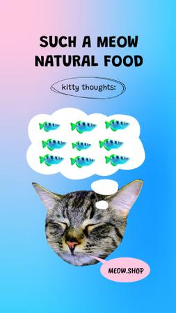 Pets Nutrition Offer with Cute Cat thinking about Fishes Instagram Story Design Template