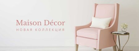 Furniture Store ad with Armchair in pink Facebook cover – шаблон для дизайна