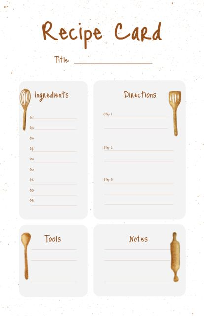 Plantilla de diseño de Illustration of Kitchen Tools Recipe Card