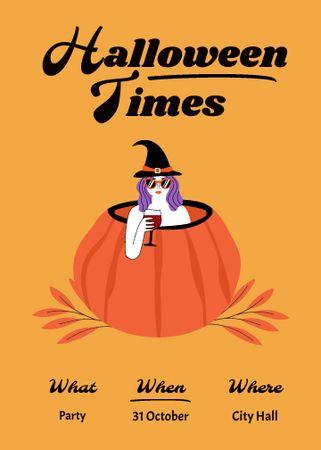 Halloween Celebration Announcement with Witch in Pumpkin Invitation – шаблон для дизайна