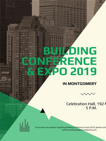 Building conference invitation on Skyscrapers in city Poster USデザインテンプレート