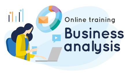 Ontwerpsjabloon van Youtube Thumbnail van Business Analysis Courses Woman Working on Report