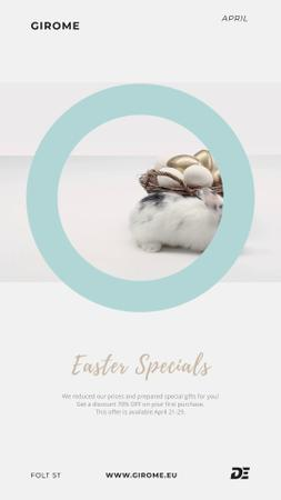 Ontwerpsjabloon van Instagram Video Story van Easter Cute Bunny with Eggs in basket
