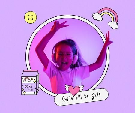 Plantilla de diseño de Funny Cute Little Girl jumping to the Music Facebook