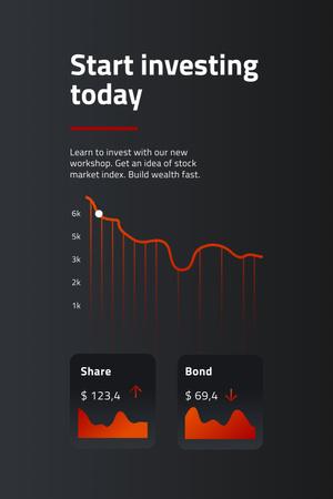 Plantilla de diseño de Chart with Investment statistics Pinterest