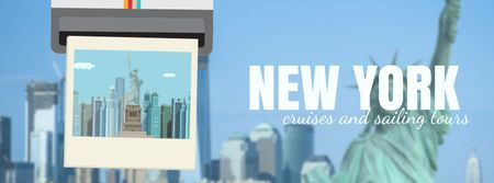 Ontwerpsjabloon van Facebook Video cover van New York travelling spots on snapshop
