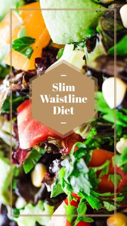 Slim Waistline Diet Ad with Veggie Salad Instagram Story Modelo de Design