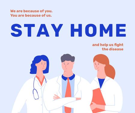 Designvorlage #Stayhome Coronavirus awareness with Doctors team für Facebook
