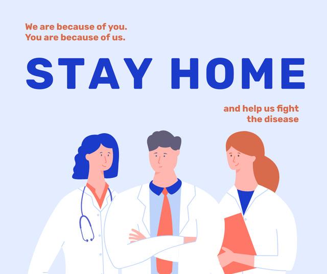 Modèle de visuel #Stayhome Coronavirus awareness with Doctors team - Facebook