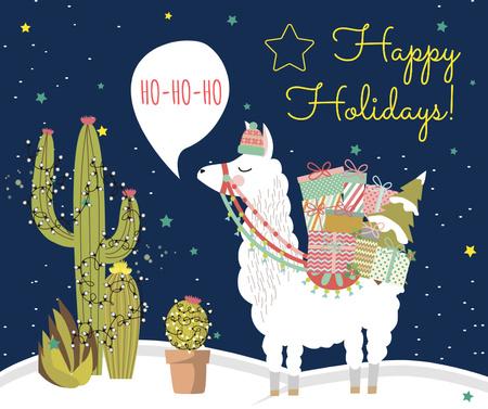 Christmas lama with gifts Facebook Modelo de Design