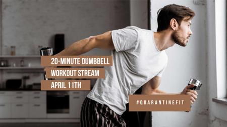 Designvorlage Man doing Workout at Home für FB event cover