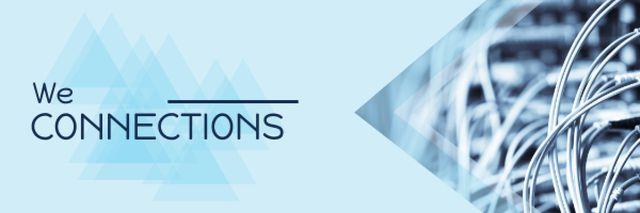 Ontwerpsjabloon van Email header van Citation with wires on blue