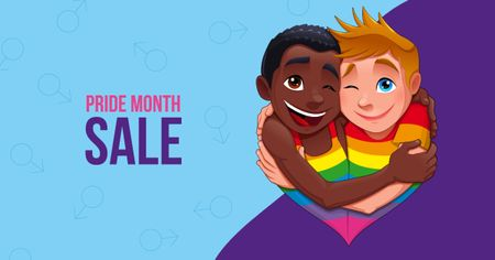 Pride Month Sale with Two Boys hugging Facebook AD Modelo de Design