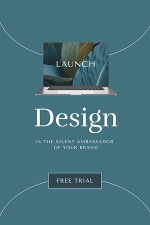 Template di design App Launch Announcement with Laptop Screen Pinterest