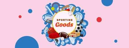 Sporting Goods Offer with Sports Equipment Facebook coverデザインテンプレート