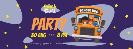 Back to School Party with Kids in School Bus Facebook cover Design Template