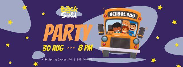 Modèle de visuel Back to School Party with Kids in School Bus - Facebook cover