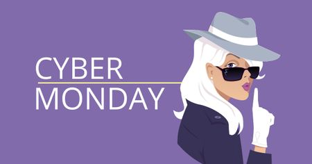 Template di design Cyber Monday Offer with Female Detective Facebook AD