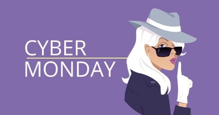 Cyber Monday Offer with Female Detective Facebook AD Design Template
