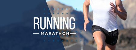 Plantilla de diseño de Running Marathon Ad with Runner Facebook cover
