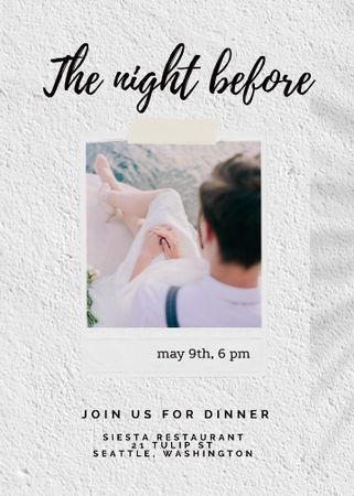 Template di design Rehearsal Dinner Announcement with Newlyweds Invitation