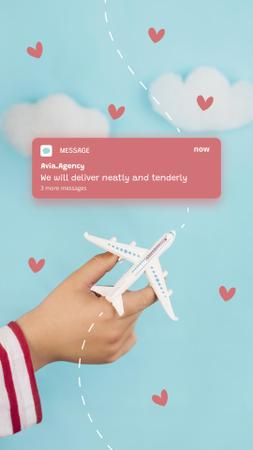 Travel Offer with Plane flying between Hearts Instagram Story Design Template