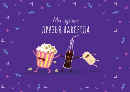 Popcorn and Cola Funny Characters Card – шаблон для дизайна
