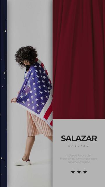 Plantilla de diseño de Independence Day Girl in USA Flag Instagram Video Story