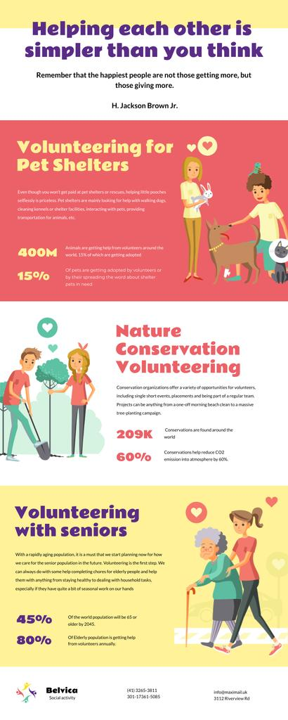 Plantilla de diseño de List infographics about Volunteering Infographic