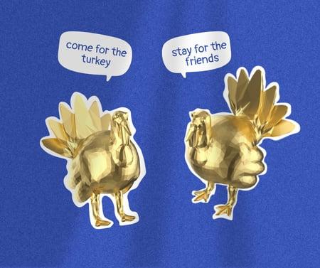 Szablon projektu Funny Illustration of Thanksgiving Holiday's turkeys Facebook