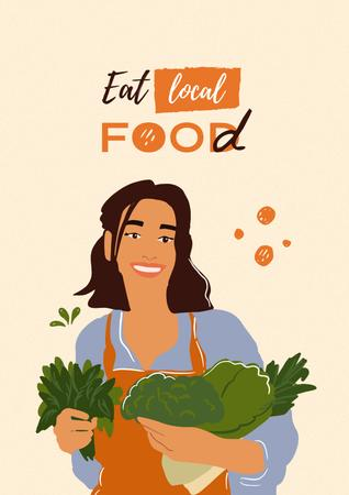 Ontwerpsjabloon van Poster van Vegan Lifestyle Concept with Woman holding Vegetables