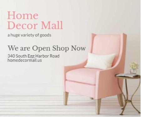 Designvorlage Furniture Shop Ad Pink Cozy Armchair für Medium Rectangle