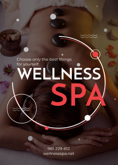 Template di design Wellness Spa Ad Woman Relaxing at Stones Massage Flayer