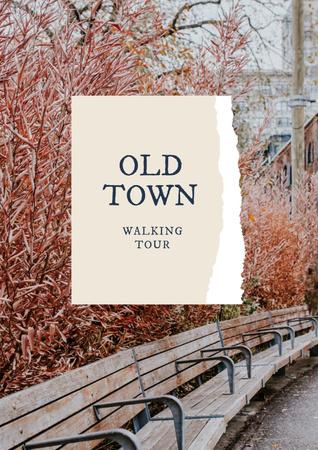 Modèle de visuel Walking Tour Offer with Benches in autumn Park - Poster