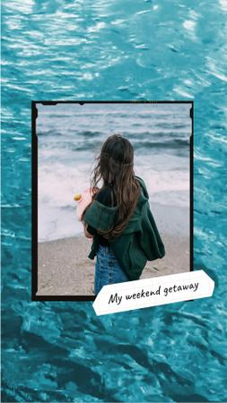 Plantilla de diseño de Young Girl on Seacoast Instagram Video Story