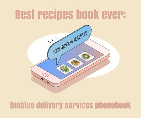 Delivery Services Offer with Food Items on Phone Screen Facebook – шаблон для дизайна