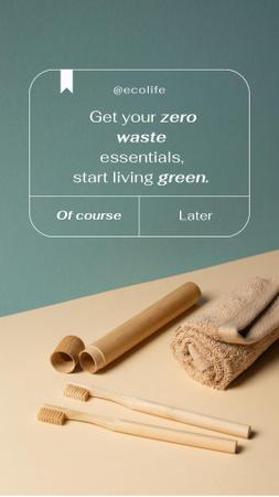 Modèle de visuel Zero Waste Concept with Wooden Toothbrushes - Instagram Story