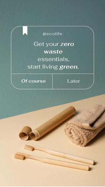 Ontwerpsjabloon van Instagram Story van Zero Waste Concept with Wooden Toothbrushes