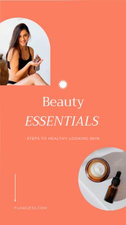 Plantilla de diseño de Skincare Offer with Young Woman applying Cream Instagram Video Story