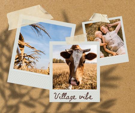Cute Cow grazing in Field Facebook Design Template