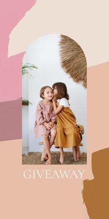 Giveaway announcement with Kids sharing Secret Graphic Modelo de Design