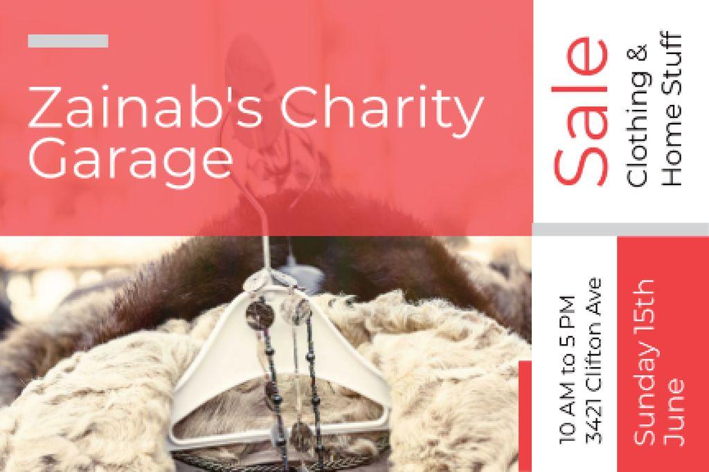 Plantilla de diseño de Charity Garage Sale Announcement Gift Certificate