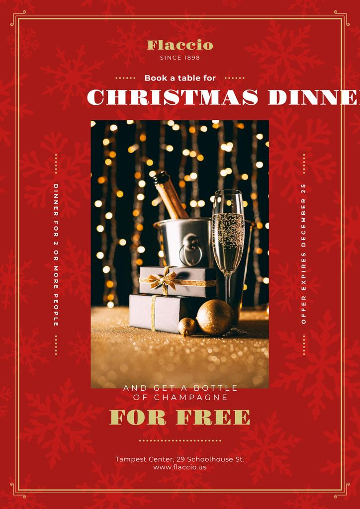Christmas Dinner Offer with Champagne and Gift — Создать дизайн